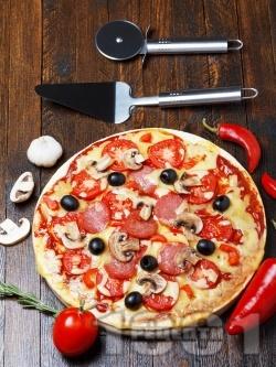 Пица с колбас, домати и маслини - снимка на рецептата